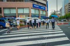 TOKYO, JAPAN JUNE 28 - 2017: Unidentified people under umbrellas on zebra crossing street in Jimbocho district located Stock Photo