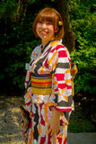 TOKYO, JAPAN JUNE 28 - 2017: Unidentified woman wearing a typical japanesse clothe and posing for camera in Kamakura. Tokyo Japan royalty free stock photography