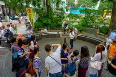 TOKYO, JAPAN JUNI 28 - 2017: De niet geïdentificeerde mensen bezoeken Hachiko-hondstandbeeld in Shibuya, Tokyo Hachiko was een be Stock Afbeelding