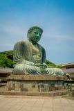 TOKYO, JAPAN JUNI 28 - 2017: Monumentaal bronsstandbeeld van Grote Boedha in Kamakura, Japan Royalty-vrije Stock Fotografie