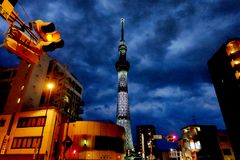 Tokyo/Japan - Juni 10 2017: Tokyo Skytree i den molniga nattsikten från den närliggande gatan royaltyfri bild