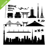 Tokyo, Japan landmark silhouettes  Royalty Free Stock Images