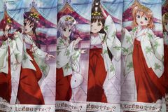 Tokyo, Japan - 14. Mai 2017: Bunte Animefahnen als Förderung Stockfoto