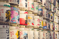 TOKYO, JAPAN - MARCH 30: A collection of Japanese sake barrels s Royalty Free Stock Photo