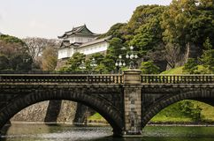 TOKYO, JAPAN - MARCH 25, 2019: Tokyo Imperial Palace with bridge over river royalty free stock images