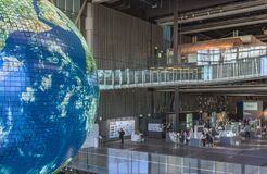 Atrium of the Miraikan Museum in Odaiba where the earth globe Geo Cosmos is hangs.