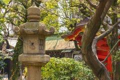 Kasuga-type stone lantern in the Atago temple of Tokyo.