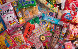 Tokyo, Japan - March 17th 2016: Different japanese sweets and snacks stock photography