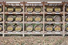 Tokyo Japan - Mars 13 2016: Trätrummor som staplas av vin på Meiji arkivbilder