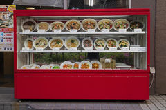 Tokyo, Japan -  May 11, 2017: Display of replica food outdoors i Royalty Free Stock Images