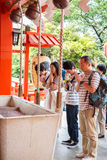 Tokyo,Japan -May 25, 2014  Many people donate money and benediction at temple  Tokyo,Japan Stock Photos