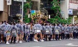 Omikoshi Masturi Festival in Tokyo, Japan. Tokyo, Japan - May 20, 2017. People at Mikoshi Matsuri Festival in Tokyo, Japan. A mikoshi is a divine palanquin also Stock Photos