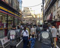 Mikoshi Matsuri Festival in Tokyo, Japan. Tokyo, Japan - May 20, 2017. People at Mikoshi Matsuri Festival in Tokyo, Japan. A mikoshi is a divine palanquin also Stock Photos