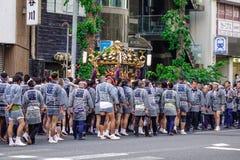 Mikoshi Matsuri Festival in Tokyo, Japan. Tokyo, Japan - May 20, 2017. People at Mikoshi Matsuri Festival in Tokyo, Japan. Mikoshi Matsuri is one of the three Stock Photos