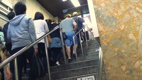 People are up stair at Ginza station, in Tokyo Subway. Tokyo, Japan - May 6, 2014 : People are up stair at Ginza station, in Tokyo Subway stock footage