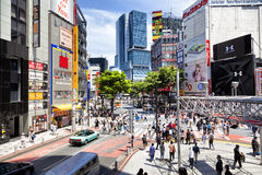 TOKYO, JAPAN - May 18, 2016: Shibuya, It`s the shopping district which surrounds Shibuya railway station. This area is known as on Royalty Free Stock Photos