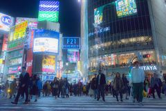 Tokyo, Japan - May 10th 2018 : Shibuya Crossing. Every minute more than 3000 people cross the Shibuya intersection, an incredible feeling when you go there for Stock Photos