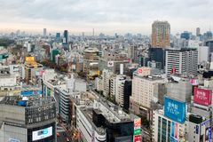 Tokyo, Japan - Nov 08 2017 : Aerial view of skyline in downtown crowded at shibuya stock image