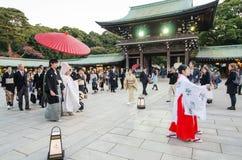 TOKYO JAPAN-NOV 20: En japansk bröllopceremoni på Meiji Jingu S Arkivbilder