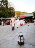 TOKYO JAPAN-NOV 20: Japansk bröllopceremoni Arkivfoto