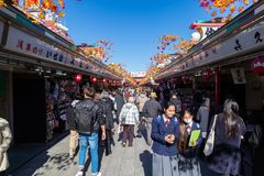 Nakamise shopping street in Asakusa. TOKYO, JAPAN - Nov 16, 2017:  Nakamise shopping street in Asakusa connect to Senso-ji Temple in Asakusa Stock Photos