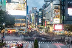Tokyo, Japan - Nov 08 2017 : Pedestrians walking across with crowded traffic at Shibuya crossing royalty free stock image