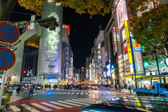 Tokyo, Japan, 17 Nov., 2016: Shibuya Kruising van Stadsstraat met stock afbeeldingen