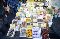 TOKYO, JAPAN- NOV 26, 2013: Tsukiji market is a large market for for fish, fruits and vegetables in central Tokyo Stock Photo