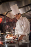 TOKYO, JAPAN - November, 30, 2014: Chef Cooking Wagyu Beef Royalty Free Stock Photos