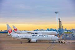 TOKYO JAPAN - 26 NOVEMBER 2018 Japan Airlines eller JAL-nivå på Haneda den internationella flygplatsen I morgonen arkivbild