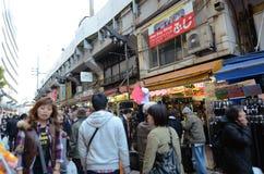 TOKYO, JAPAN- NOVEMBER 22, 2013: Ameyoko market street, Tokyo, J Stock Photos