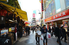 TOKYO, JAPAN - NOVEMBER 22 : Ameyoko market in Ueno District at Royalty Free Stock Photo