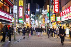 Busy streets of Shibuya district in Tokyo Royalty Free Stock Images