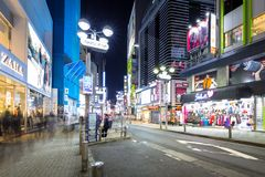 Busy streets of Shibuya district in Tokyo Stock Images