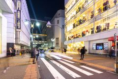 Busy streets of Shibuya district in Tokyo Stock Image