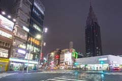 Cityscape of Shinjuku district with traffic lights Royalty Free Stock Image