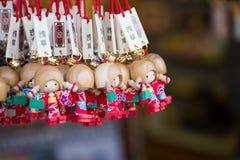 Souvenirs in Asakusa street. Tokyo Japan - November 24 2017: closeup of souvenirs charm in shop at Asakusa street, Sensoji temple Stock Photos