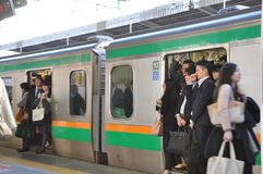 Tokyo, Japan:November 13, 2014 - The crowd of passengers travel royalty free stock photo