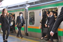 Tokyo, Japan:November 13, 2014 - The crowd of people traveling stock photo