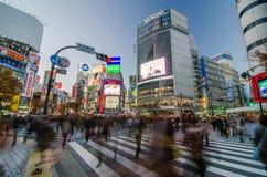 Tokyo, Japan - 28. November 2013: Drängen Sie sich an der berühmten Überfahrt von Shibuya-Bezirk Lizenzfreie Stockbilder