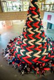 Roppongi Hills. Tokyo, Japan - November 30, 2018: The entire Christmas tree are made from soft and stretchy knitted fabric, visitors can sit and lie down on this stock image