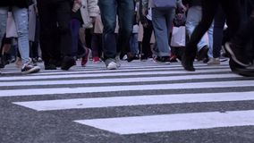Feet of people crossing the famous Shibuya intersection at evening stock video
