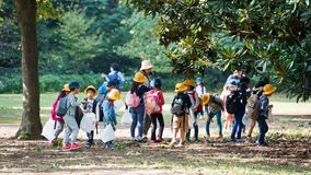 TOKYO, JAPAN - NOVEMBER 7, 2017: A group of japanese children in a city park. Copy space for text. TOKYO, JAPAN - NOVEMBER 7, 2017: A group of japanese children stock photo