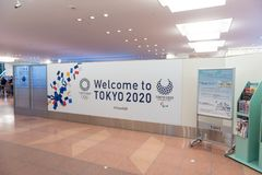 TOKYO, JAPAN - NOVEMBER 9, 2018: Haneda International Airport Tokyo. Welcome to Tokyo 2020. Japan. stock images