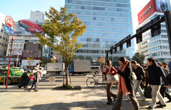 Tokyo, Japan - 24. November 2013: Leuteweg durch Geschäftsgebäude auf Omotesando-Straße Stockfotos