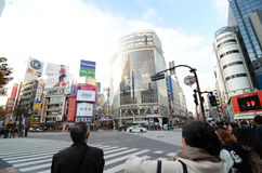 Tokyo, Japan - 28. November 2013: Mengen von den Leuten, welche die Mitte von Shibuya kreuzen Lizenzfreie Stockbilder