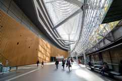 Tokyo, Japan - November 26, 2013: People visit Tokyo International Forum. On November 26, 2013 in Tokyo Japan. the Forum is one of Tokyo's architectural marvels Stock Image