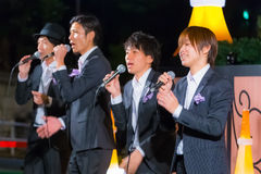 TOKYO, JAPAN - NOVEMBER 24: Permanent Fish vocals. Tokyo, Japan - November 24 2013: Permanent Fish vocals group performs acappella at Tokyo Tower for the early Royalty Free Stock Photography
