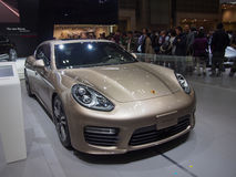 TOKYO, JAPAN - November 23, 2013: Porsche Panamera at the booth of porsche Stock Photography