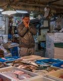 TOKYO, JAPAN - November, 22, 2014: Seafood sellers at Tsukiji, t Royalty Free Stock Photos